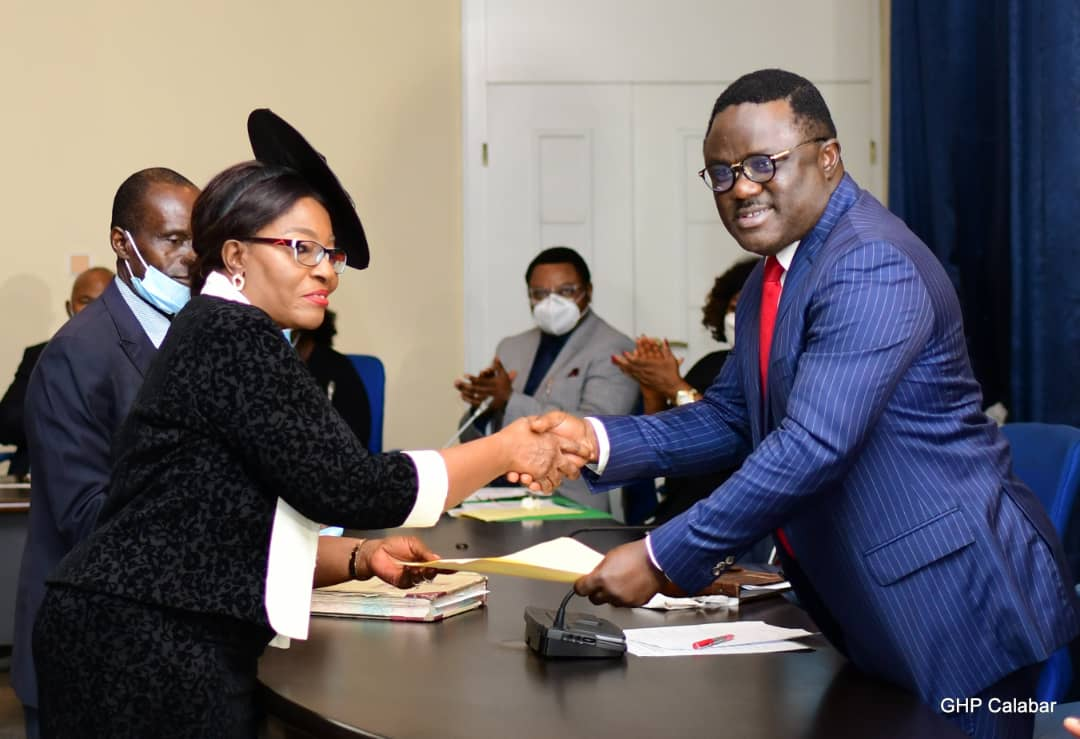 GOV AYADE SWEARS IN JUSTICE AKON BASSEY IKPEME AS CHIEF JUDGE OF CROSS RIVER STATE, IMPLORE HER TO DISPENSE JUSTICE TO ALL