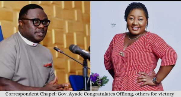 CORRESPONDENTS CHAPEL: GOV. AYADE CONGRATULATES EME OFFIONG, OTHERS ON THEIR VICTORY.